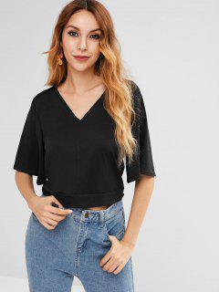 Cut Out Tie Top - Black S