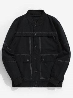 Sewing Pockets Button Baseball Jacket - Black M