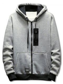 Drawstring Zipper Placket Rectangle Panel Embellished Hoodie - Light Gray M