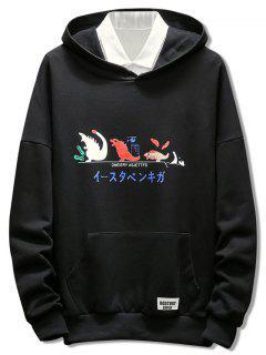 Japanese Cartoon Print Pullover Hoodie - Black M