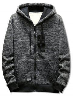 Drawstring Zipper Placket Rectangle Panel Embellished Hoodie - Gray 3xl