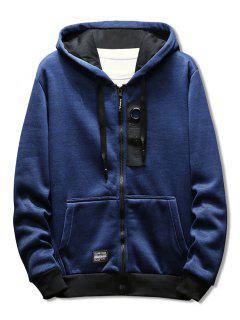 Drawstring Zipper Placket Rectangle Panel Embellished Hoodie - Deep Blue M