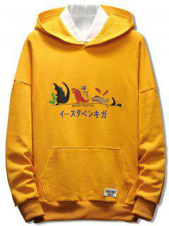 Japanese Cartoon Print Pullover Hoodie - Bright Yellow 2xl