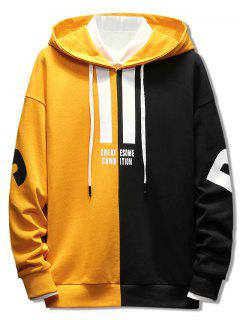 Contrast Color Letter Pullover Hoodie - Bright Yellow Xl