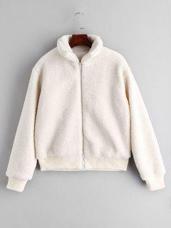 ZAFUL Fluffy Short Winter Faux Shearling Coat - White L