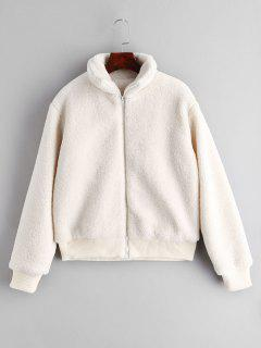 ZAFUL Fluffy Short Winter Faux Shearling Coat - White S
