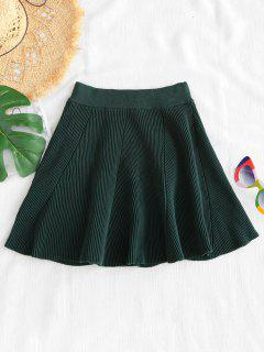 Solid Color Flare Skirt - Dark Forest Green
