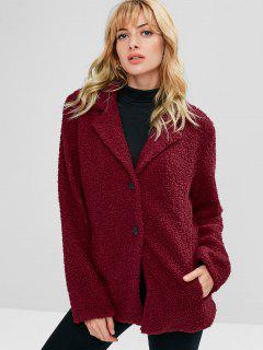 ZAFUL Lapel Button Up Faux Shearling Teddy Coat - Red Wine L