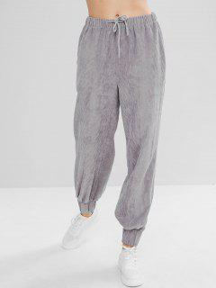 ZAFUL Drawstring Corduroy Jogger Pants - Dark Gray M