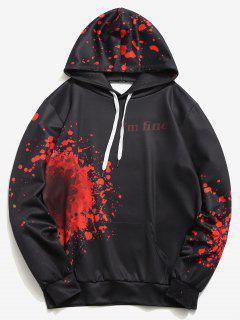 Halloween Inspired Spatter Letter Pattern Big Pocket Hoodie - Black L