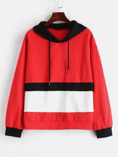 ZAFUL Color Block Drawstring Hoodie - Multi M