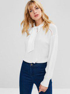 ZAFUL Eyelet Bow Tie Blouse - White M
