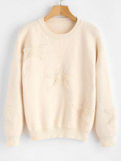ZAFUL Round Neck Star Print Pullover Sweater - Beige