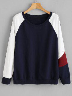 ZAFUL Color Block Raglan Sleeve Sweatshirt - Marina De Guerra