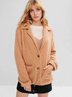 Zaful Button Up Lapel Faux Shearling Coat - Camel Brown S