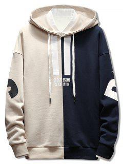 Kontrastfarbe Brief Pullover Hoodie - Beige M