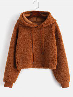 ZAFUL Drawstring Cropped Faux Shearling Teddy Hoodie - Dark Goldenrod L