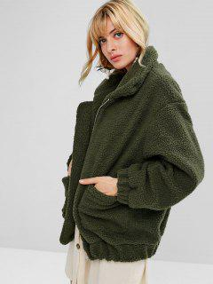 Fluffy Zip Up Winter Teddy Coat - Army Green M