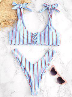 ZAFUL Striped Lace Up Knotted Bikini Set - Denim Blue M