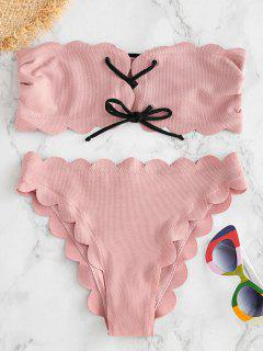 ZAFUL Lace Up Scalloped Bandeau Bikini Set - Light Pink L