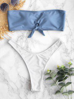ZAFUL Keyhole Color Block Bandeau Bikini Set - Seiden Blau L