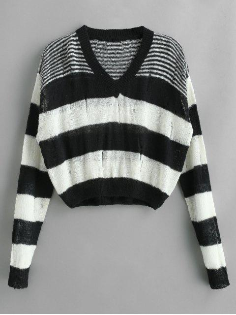 affordable Drop Shoulder Striped Sweater with Ripped - MULTI ONE SIZE Mobile