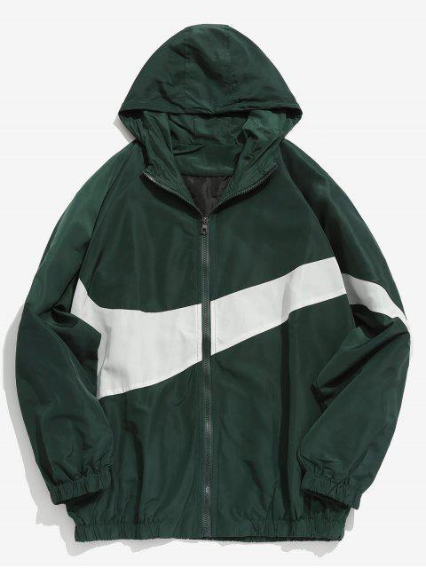 fashion Contrast Casual Zipper Lightweight Jacket - DEEP GREEN M Mobile