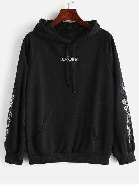 lady Front Pockets Pullover Hoodie with Embroidered - BLACK M Mobile
