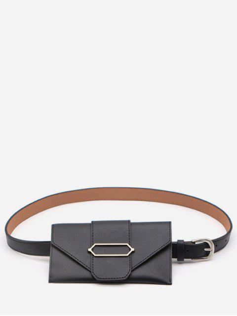 women's PU Leather Geometric Metal Waist Bag - BLACK  Mobile