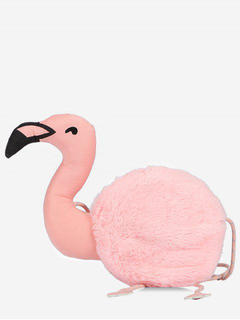 shop Faux Fur Flamingo Shape Crossbody Bag - LIGHT PINK  Mobile