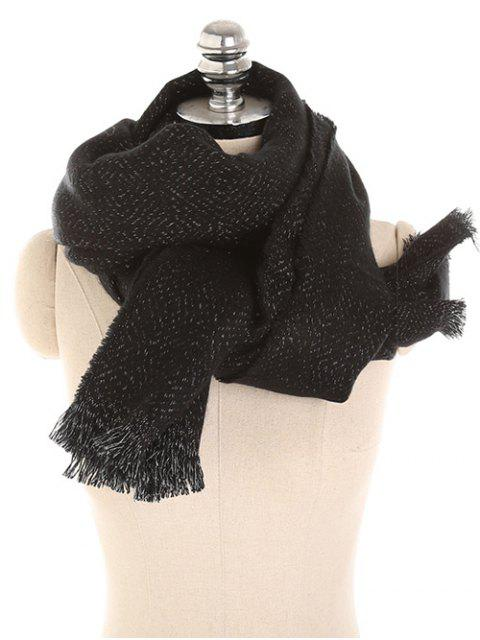 Color sólido de invierno espesar bufanda larga - Negro  Mobile