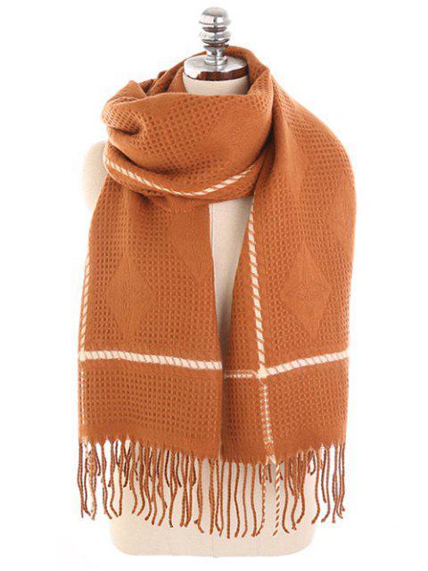 Foulard d'hiver à franges à losanges - Acajou  Mobile