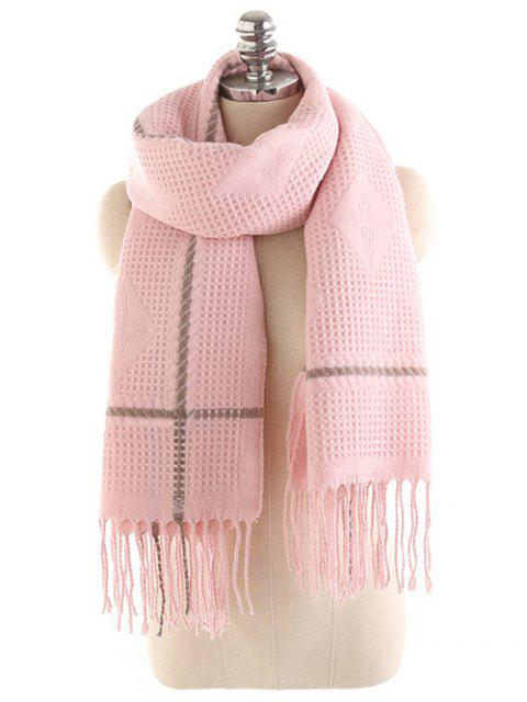sale Rhombus Fringed Winter Long Scarf - PINK  Mobile