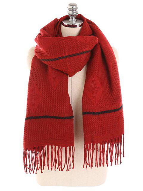 womens Rhombus Fringed Winter Long Scarf - RED WINE  Mobile