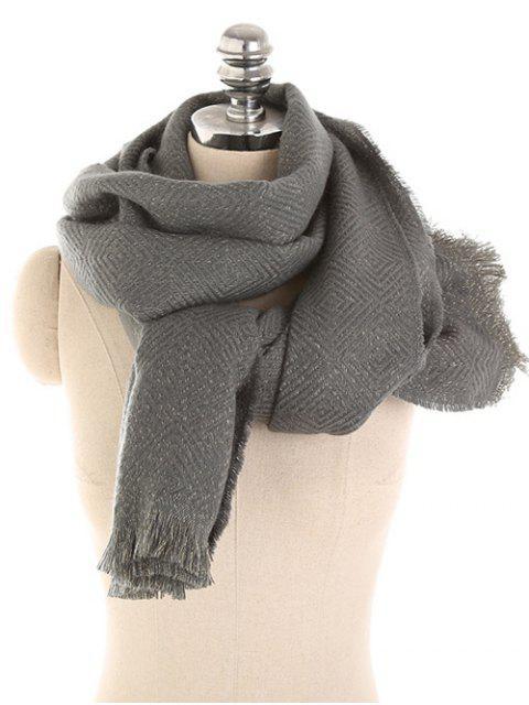 Écharpe longue couleur unie hiver - Gris Carbone  Mobile