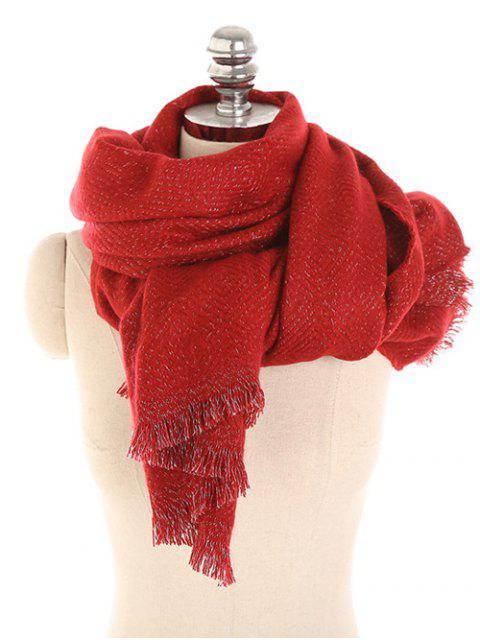 ladies Winter Solid Color Thicken Long Scarf - LAVA RED  Mobile