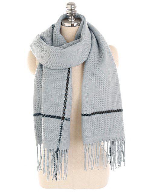 Rhombus con flecos de invierno larga bufanda - Gris  Mobile
