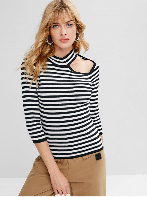 affordable Cut Out Striped Sweater - BLACK ONE SIZE Mobile