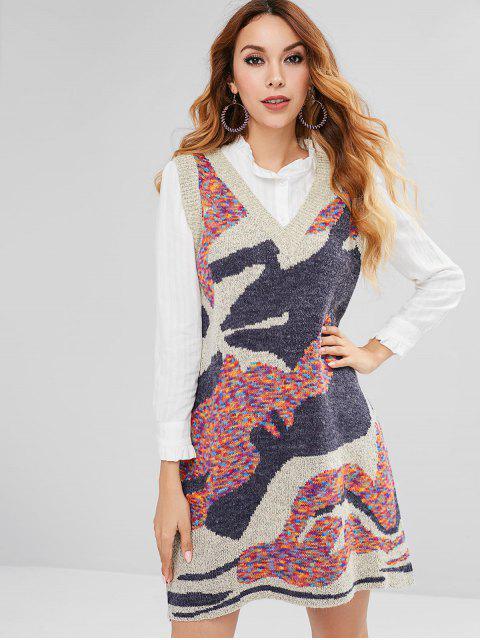 Farbiges Camo Jacquard Strickpullover Kleid - Multi Eine Größe Mobile