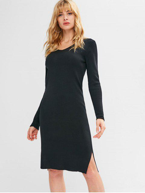 women's Slit Long Sleeve Sweater Dress - BLACK L Mobile