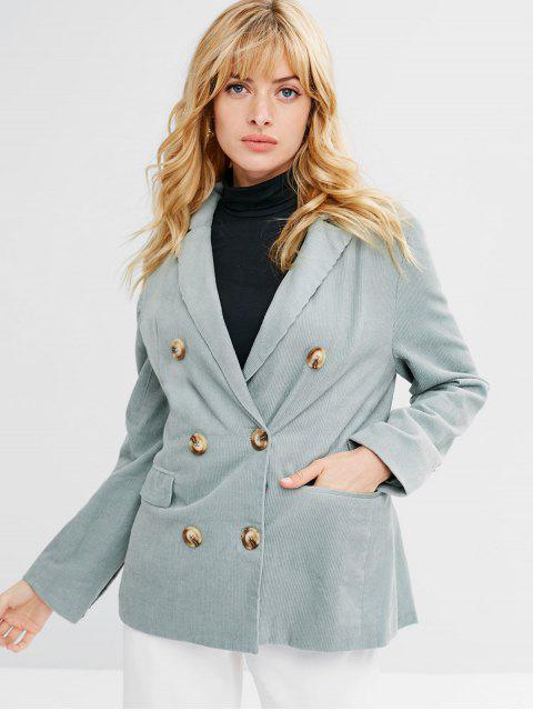 outfits Double Breasted Corduroy Lapel Blazer - PALE BLUE LILY L Mobile