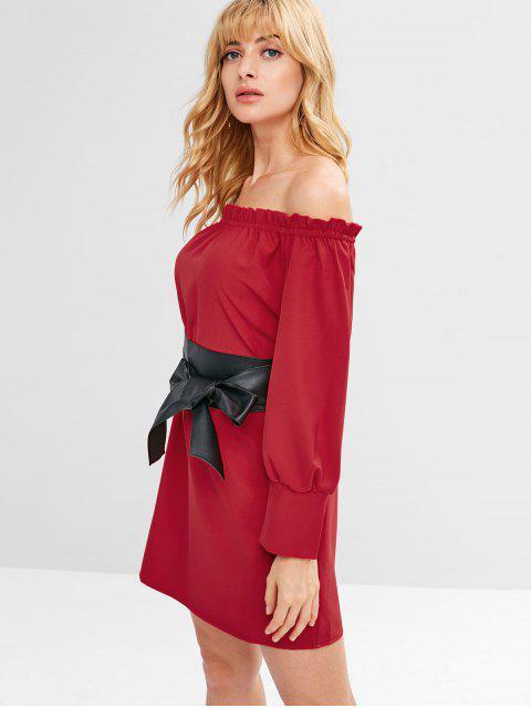 Robe Ceinturée à Epuale Dénudée en PU - Rouge Lave L Mobile