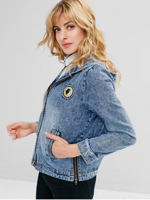 fashion Hooded Zip Frayed Trim Jean Jacket - DENIM BLUE M Mobile