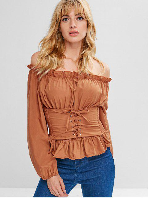 hot Lace Up Smocked Off Shoulder Top - TIGER ORANGE ONE SIZE Mobile