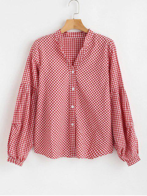 unique Gingham Lantern Sleeve Blouse - RED S Mobile