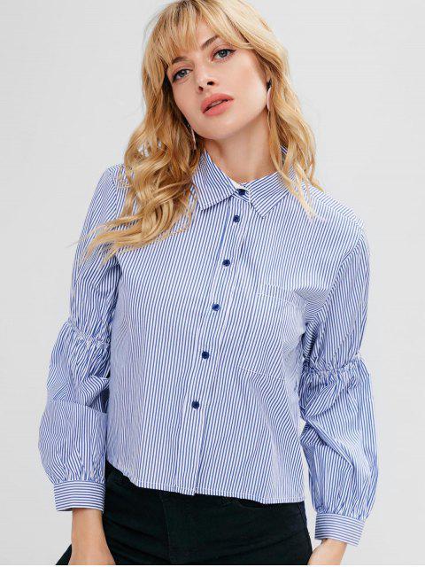 women's Striped Lantern Sleeve High Low Shirt - OCEAN BLUE L Mobile