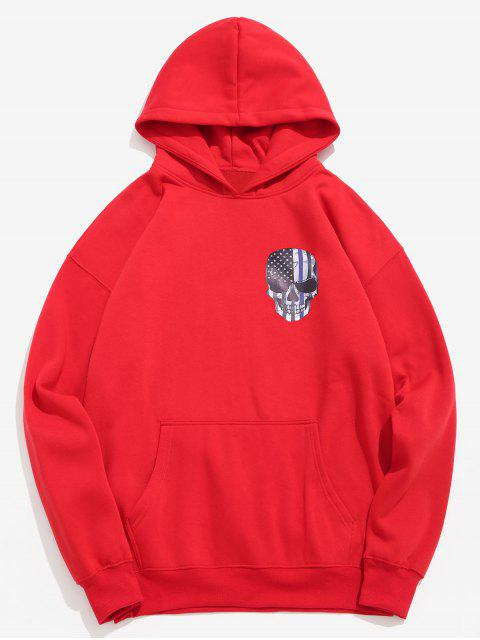 ladies Amercian Flag Skull Printed Pullover Hoodie - LAVA RED L Mobile