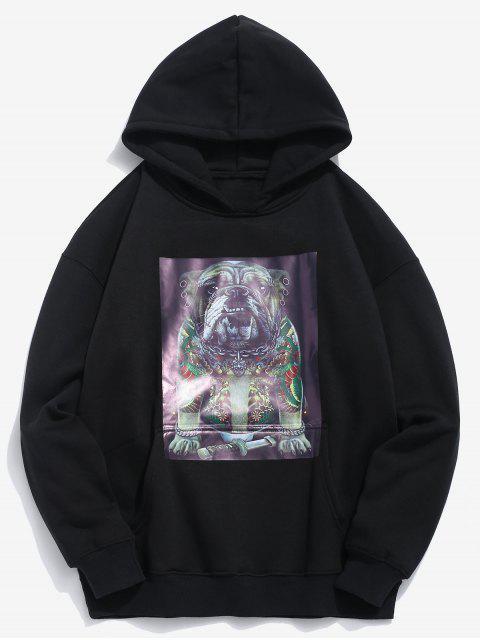 hot Funny Dog Pockets Fleece Hoodie - BLACK L Mobile