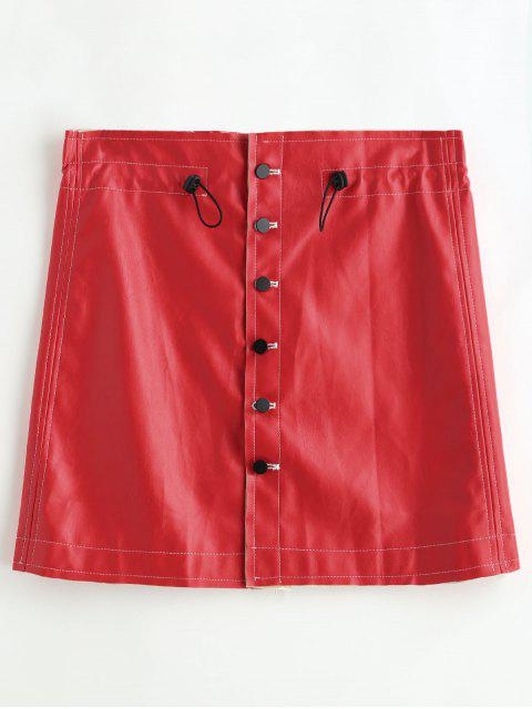 affordable Bodycon PU Skirt with Button Up - RED ONE SIZE Mobile