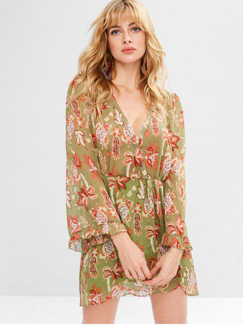 outfit Flower Low Cut Tulip Dress - AVOCADO GREEN S Mobile